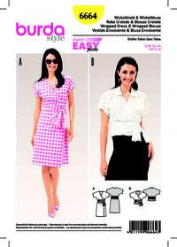 Burda mønster: Slå-om kjole, slå-om bluse, integral-ærmer