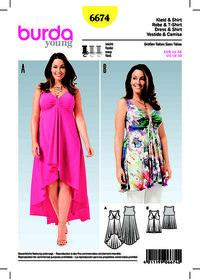 Burda mønster: Kjole, top, samlet overdel, klokke-formet nederdel