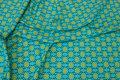 Bomuldsjersey i lys turkis og lime med mønster