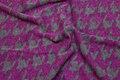 Grå-cerise vinterstrik med 4 cm stort hanefjedsmønster