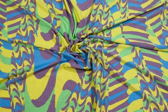 Viscose-jersey i gul, lime, lilla og blå