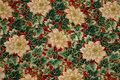 Grøn bomuld med råhvide juleroser