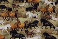 Lys oliven bomuldsjersey med flotte heste
