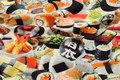 Bomuldsjersey med sushi i flotte farver