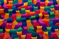 Søde og sjove multifarvede katte