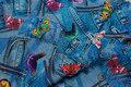 Bomuldslærred med tryk af bukser og sommerfugle