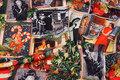Bomuldsjersey med julemotiver i retro stil