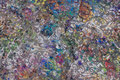 Grå heavyjersey med flock-print i dæmpede multifarver