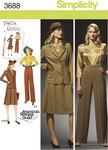 Plus Size Bluse, Nederdel, Bukser og Foeret jakke: Retro 1940