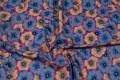 Grå-beige patchworkstof med blomster