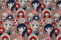 Beige bomuldsjersey med piger i marine og rødt