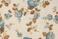 Grovvævet polyester og bomuld med petrol blomster