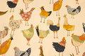 Knækket hvid, mellemsvær bomuld med sjove fugle