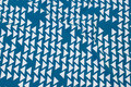 Petrol og off white bomuldsjersey med grafisk mønster