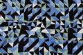 Viscosejersey med grafisk mønster i sort, due og mandel