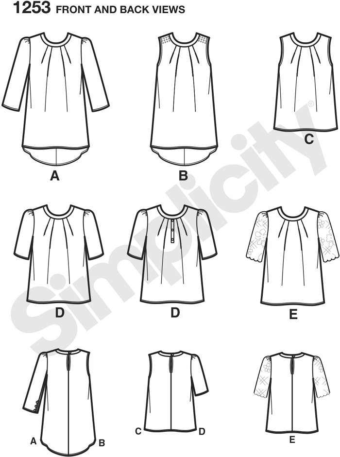 Misses´ scoop neck top can have a shirtail hem in sleeveless or with three quarter sleeves. Blouse length top can be sleeveless or have half sleeves with contrast sleeve and trim options. Simplicity sewing pattern.