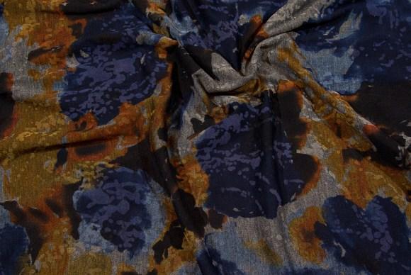 Messing-marine, mønstret blød jersey med stræk