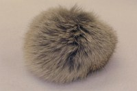 Pompon, lys grå kaninpels  Ø ca.8cm.