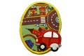 Oval strygelap med rød bil  7x9,5cm