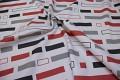 Hvid-rød-grå polyester til bruseforhæng
