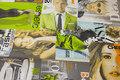 Grå-grøn, kraftig vare i stor bredde med Kendis-fotos