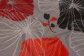 Grå teflonbehandlet grå textildug med store  blomster