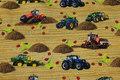 Bomuldsjersey med traktorer og høstakke