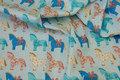 Mintgrøn patchwork-bomuld med heste