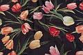 Møbelgobelin i sort med tulipaner i rød, pink, orange
