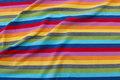 Tværstribet bomuldsjersey i multifarver med 12 mm striber