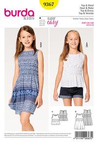 Burda mønster: Top, kjole, elastisktalje til børn