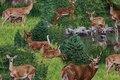 Patchwork bomuld med hjorte i skoven