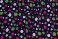 Dyb lilla fleece med grønne og hvide og pink bomber