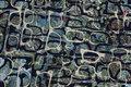 Bluse-micropolyester i marine og støvgrøn med brillemønster