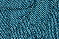Micro-polyester med lille mønster i turkis og sort