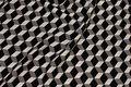 Micro-polyester med grafisk mønster i sort og grå og hvid
