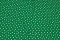 Græsgrøn bomuldsjersey med 1 cm hvide stjerner