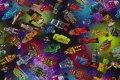 Multifarvet bomuldsjersey med sjove robotter
