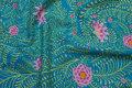 Jadegrøn patchwork-bomuld med rosa blomster