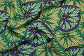 Patchwork-bomuld i grøn-lilla med flotte kålblade