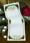 Hvid julebordløber med julelys