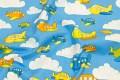 Lysblå bomuld med buttede flyvemaskiner