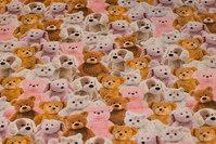 Bomuldsjersey med et mylder af søde bamser i brun, pink og hvid