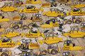Sandfarvet bomuldsjersey med gule Bulldozere