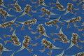 Mellemblå bomuldsjersey med dinosaurer