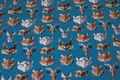 Mørk turkis bomuldsjersey med grafiske dyrehoveder