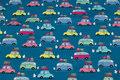 Mørk turkis bomuldsjersey med biler i pastelfarver