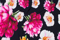 Sort bomuldsjersey med flot blomstertryk