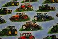 Bomuldsjersey med traktorer på lyseblå bund