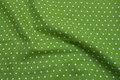 Lysegrøn kraftig bomuld med hvide prikker